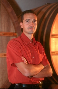 Winemaker Arnaud Weyrich in front of the foudre in which he stores Roederer Estate's reserve wines.