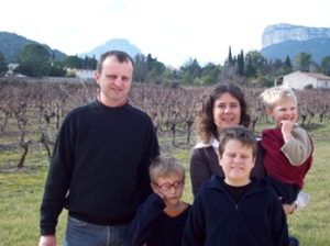 Regis Valentin and family in the vineyards of Pic St. Loup