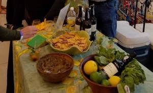 Our table with our tapenade and a display of the flavors in our Green Sangria